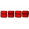 Fire polished 8X8mm Square Siam Ruby Lamp/window Beads